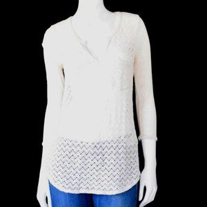 Lucky Brand Cream Open Knit 3/4 Sleeve Top Small
